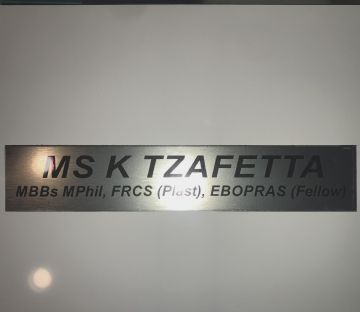 Custom Office Door Name  plaque - Two Text lines - Brushed Brass / Stainless Steel Effect